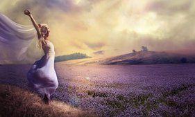 Menina, natureza, campo, flores, monte de lavanda, vestido