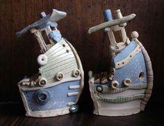 Ceramics by Sarah Vernon at Studiopottery.co.uk - Mini tugs, height 12cms, £48.