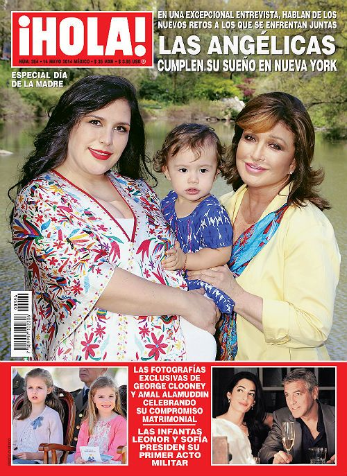 #HOLA magazine Mexico, featuring on the cover Mexican actress Angelica Vale, her baby girl and her mom, Mexican singer Angelica Maria. Angelica vale is wearing an Otomi dress full of color and fun motifs..EXCELLENT for pregnant women! <3
