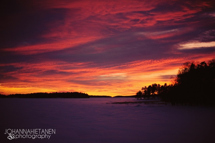 Sunset at Hanasaari, Espoo, Finland.