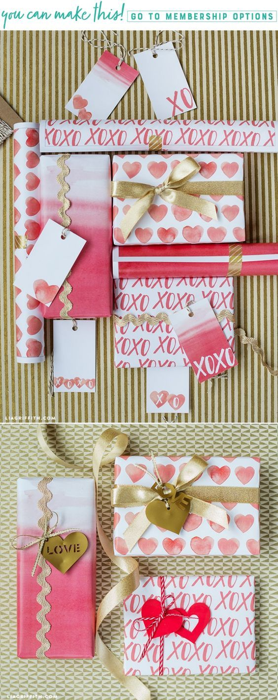 Download and print pretty watercolor Valentine's Day gift wrap and tags - Lia Griffith - www.liagriffith.com #printable #printables #diygifts #diygiftwrap #giftwrap #valentinesday #valentines #paperlove #paperart #madewithlia