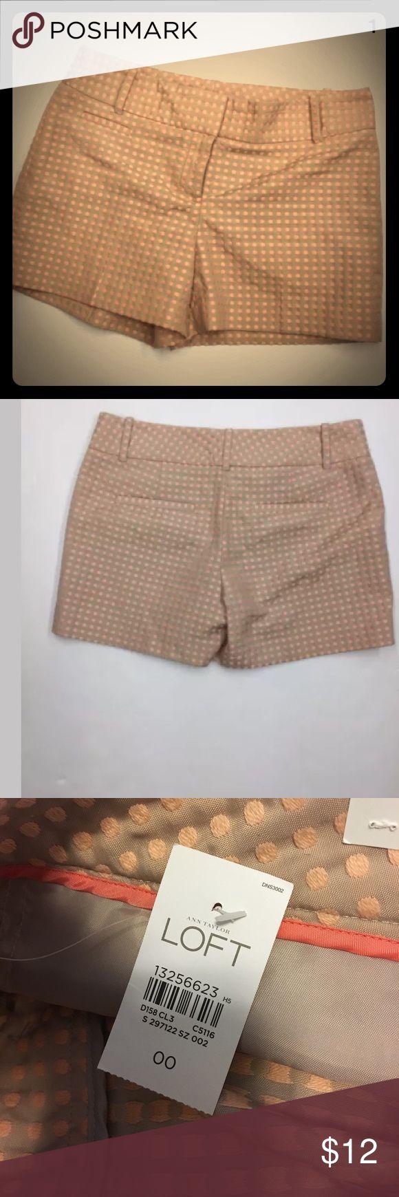 MAKE AN OFFER‼️ NEW Loft Polka Dot Shorts Size 00 Ann Taylor LOFT Beige Tan Peach Coral Polka Dot Flat Front Chino Shorts New with Tags  Sz 00 LOFT Shorts