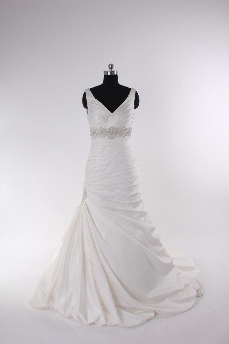Fashionable v-neck empire waist satin wedding dress
