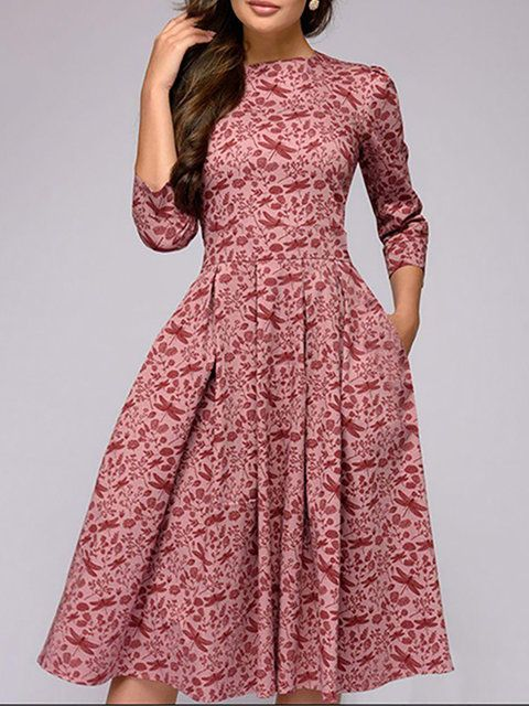 b21c781b0511 Online Shopping Stylewe Formal Dresses Casual Dresses Going Out A-Line Crew  Neck 3/4 Sleeve Printed Elegant Dresses, The Best Daytime Midi ...