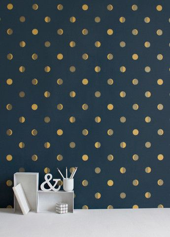 Not enough rooms in my house to display all the wallpaper I LOVE! Hygge Cooperative | Moon Crescents (Ink)
