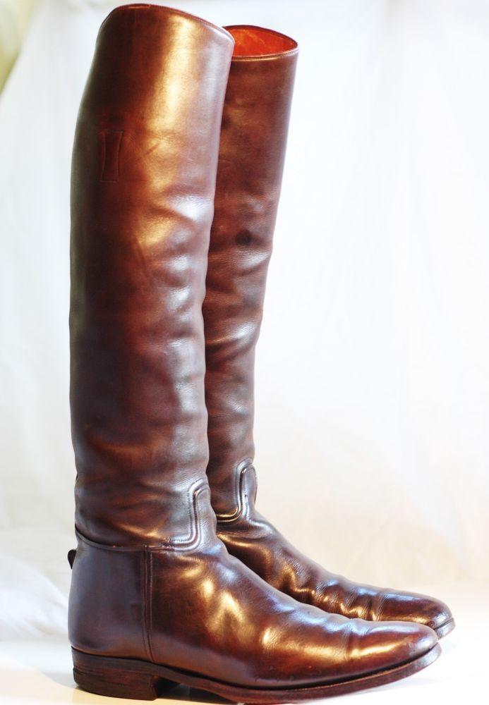 Mens Vogel Brown Custom English Equestrian Riding Tall High Dress Boots 10 10.5 #EVogel