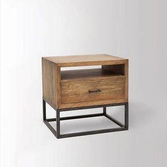 Retro americana de noche de madera maciza IKEA mesa auxiliar de hierro desván…