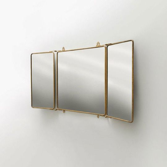 tri-fold bathroom mirror gold trim