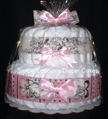 Black Toile Diaper Cake