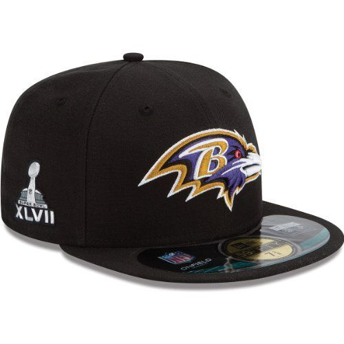 Men's New Era Baltimore Ravens Super Bowl XLVII Onfield 59FIFTY? Football Structured Fitted Hat 7 1/2 by New Era. $39.99. Reveal to the world how much you love your gridiron gang with this mens' New Era? NFL? Super Bowl? XLVII Onfield 59FIFTY? Football structured fitted hat! It's decked out with eye-catching team and Super Bowl? XLVII graphics, while its structured construction is a perfect fit for the diehard fan.