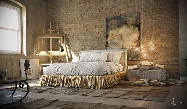 Bijzondere #design #slaapkamer met #industriële #sfeer. Groot #bed  met veel #stof. De slaapkamer lijkt wel #kunst met de #schilderijen, #schildersezel, #glazen #lampen en #boeken naast het bed. #art #paintings #industrial