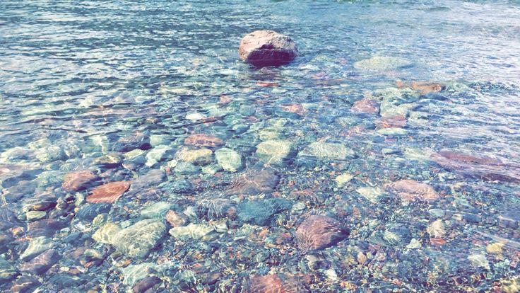 The rocks in Lake McDonald Montana