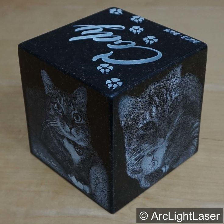 Our small cube black granite cremation urn is the perfect tribute for your furbaby. The urn can be engraved on all five sides. See our Etsy Store for more sizes and custom ideas!  https://www.etsy.com/listing/286200135/cat-urn-15-lbs-black-granite-pet?ref=shop_home_active_6