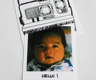 Polaroid birth announcement!  Super cute idea!