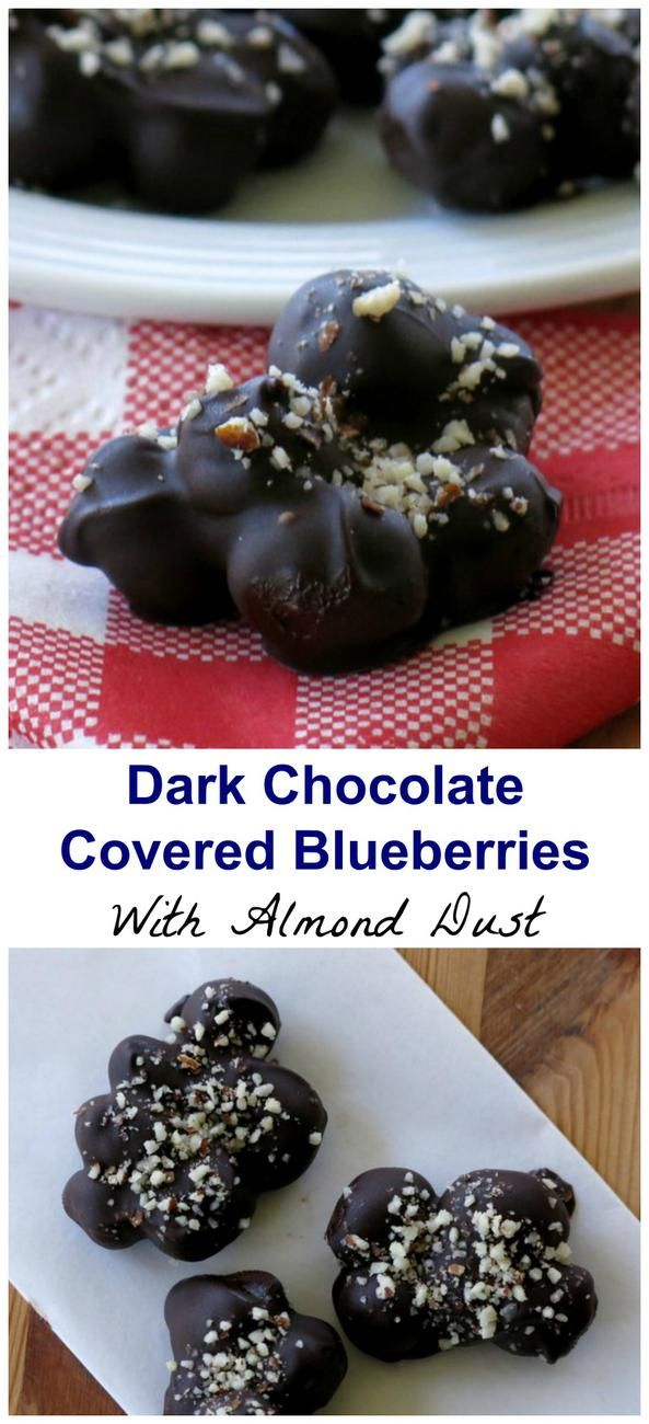 Dark Chocolate Covered Blueberries dusted with Almonds - easy, healthy, small batch recipe with just 3 ingredients! #blueberries #chocolate #cleaneating