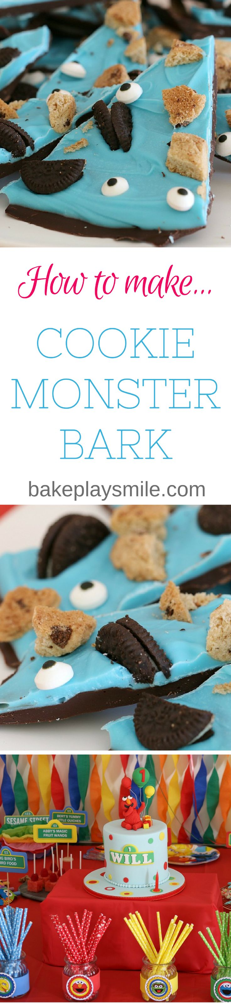 This Cookie Monster Bark will be the perfect treat for your Sesame Street party! With only 10 minutes preparation time and only 5 ingredients, it's quick easy and so yummy! #sesamestreet #sesamest #cookie #monster #bark #easy #recipe #kids #party #food