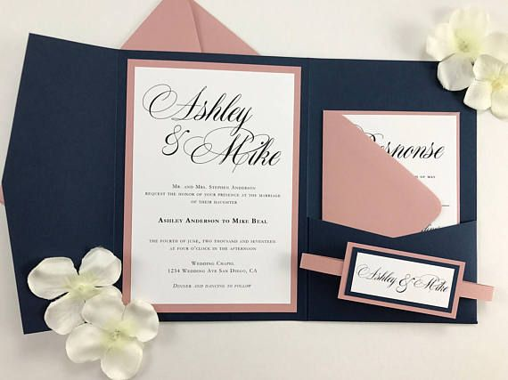 Navy And Dusty Rose Pocket Folder Invites With Belly Band Blue Wedding Invitations Pink Mauve Elegant