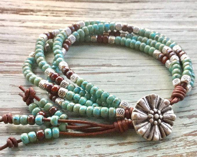 Turquoise Jewelry/Leather Wrap Bracelet/Wrap Jewelry/Southwestern Leather Wrap Bracelet/Multi Strand Jewelry/Navajo Jewelry/Gift for Her