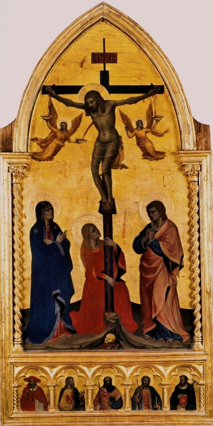 Нардо ди Чоне. Превосходная сцена Распятия из Галереи Уффици, Флоренция, которую он выполнил в свой ранний период, около 1350 г. «Распятие» написано в принятой традиции — кровь Христа ангелы собирают в чаши.Смерть Иисуса оплакивают Мария, Мария Магдалина и Иоанн. У основания креста - череп Адама, напоминая, что Христос принял смерть на кресте во искупление людских грехов. Сцене присуща тонкая композиционная уравновешенность, а фигура Магдалины, обхватившая руками крест, полна  готической…