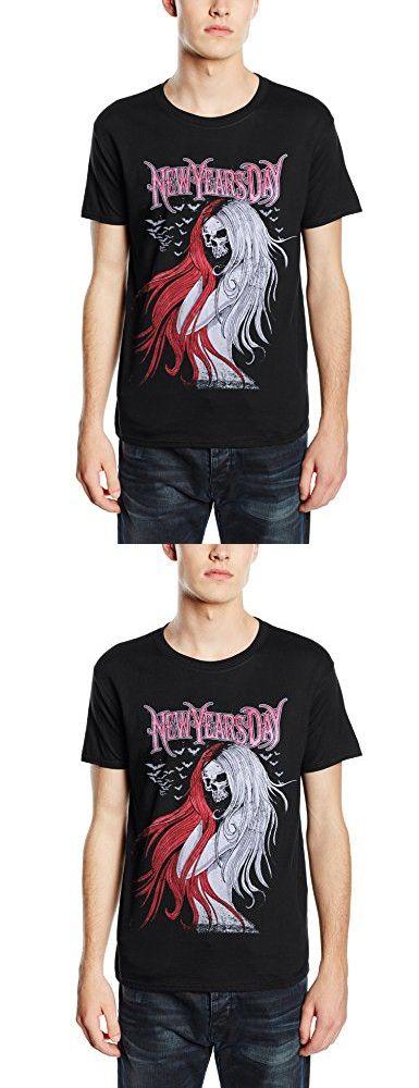 New Years Day Long Hair Skull logo Official Mens New Black T Shirt
