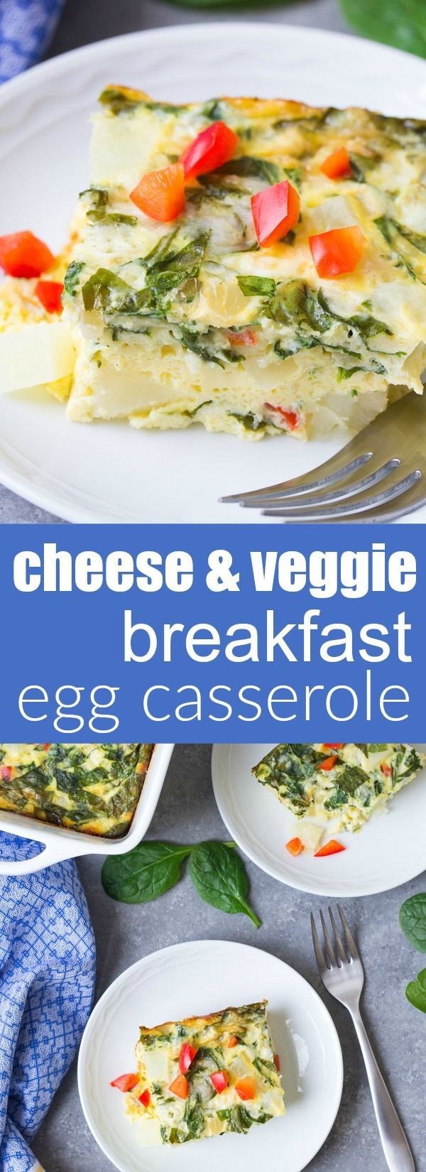 A hearty vegetarian breakfast casserole that's perfect for brunch! This Potato, Spinach and Cheese Egg Casserole is an easy make ahead breakfast. With how to recipe video!   www.kristineskitchenblog.com