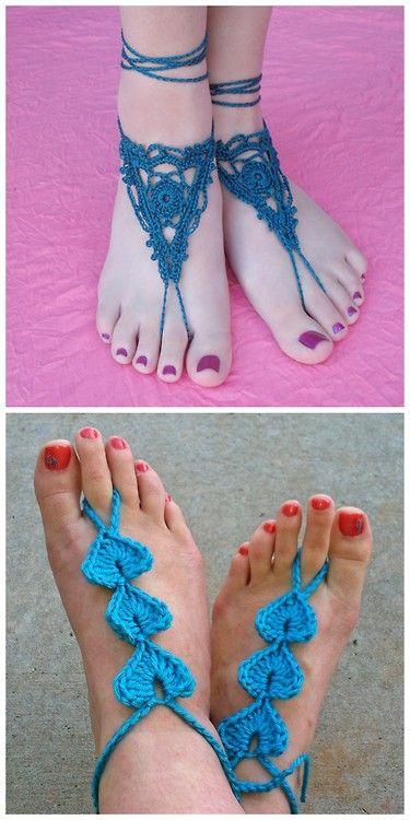 DIY Two Crochet Barefoot Sandals Patterns.
