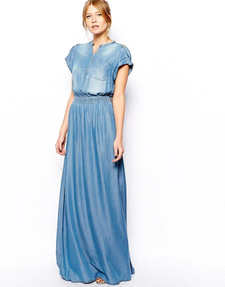 Mango Denim Maxi Dress   Dresscab