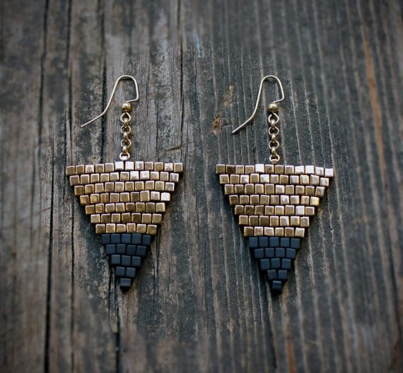 Gold and Black Large Triangle Beaded Earrings by AYAJewelryStudio, $32.00