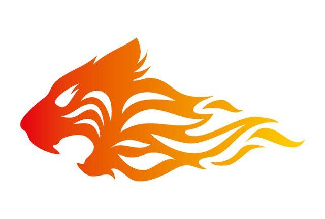 タイガー。炎のイラストのアイデア