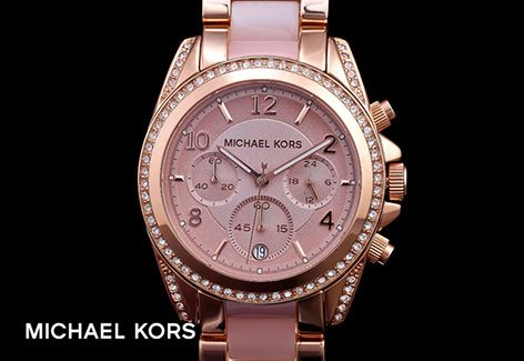 Go pink with this Michael Kors chronograph, in a two tone rose and blush finish. Can you think of a better way to tell the time?