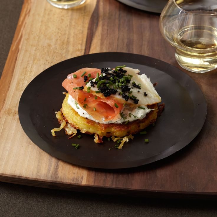 Crispy Potato Galette with Dill Cream, Smoked Salmon and Sturgeon and Osetra Caviar | Food & Wine