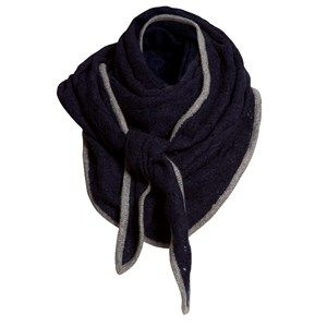 SUPERSOFT scarf, dark navy. The season's softest scarf. Knitted with a beautiful leaf pattern and glitter hem, making it feminine and flattering. Shaped as a large triangle and made in sustainable wool from our Italian supplier.