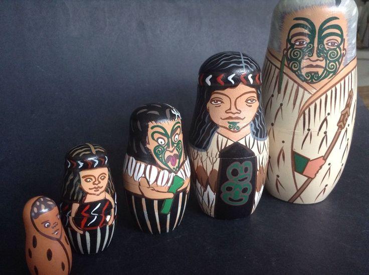Tiki Maori Haka New Zealand Nesting Dolls Set Hard To Find Souvenir Collectible
