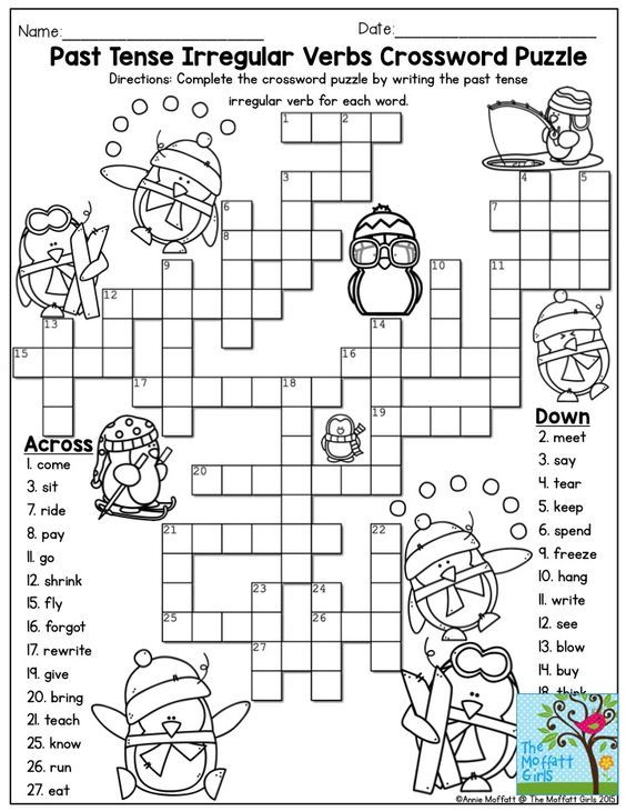 Past Tense Irregular Verbs Crossword Puzzle- Such a FUN activity for third grade!  Plenty more interactive activities to keep children happy to learn!: