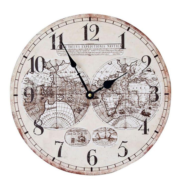 World Map relogio de parede 35 CM Vintage Wall Clocks Living Room Wall Clock Modern Design Quartz Needle Wall Watches
