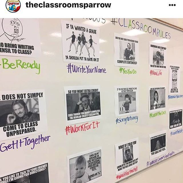 I love how @theclassroomsparrow uses my memes to reinforce classroom rules! Thanks for sharing. They are on sale now in my store! (Link in profile.) #teacherspayteachers #teachersfollowteachers #iteachtoo #iteachhighschool #teachers #classroom