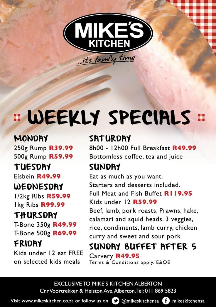 Mike's Kitchen Alberton Weekly Specials