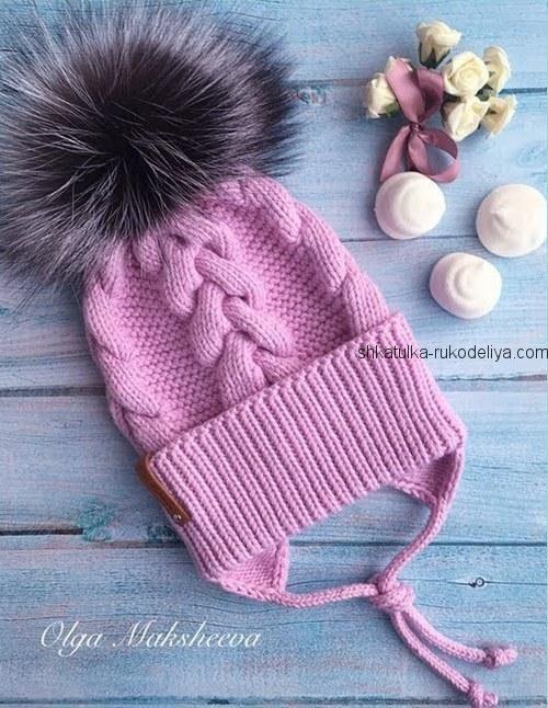 Детская шапка с ушками спицами.Шапка с завязками для девочки ... e6e636dac3a8e