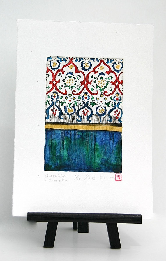 Morocco  Original Etching greenblue by freshandsilly on Etsy, $35.00