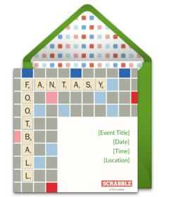 """Tons of free tailgating invitations. We love this """"Scrabble Football"""" design for a Fantasy Football league. Great digital alternative to DIY paper options."""