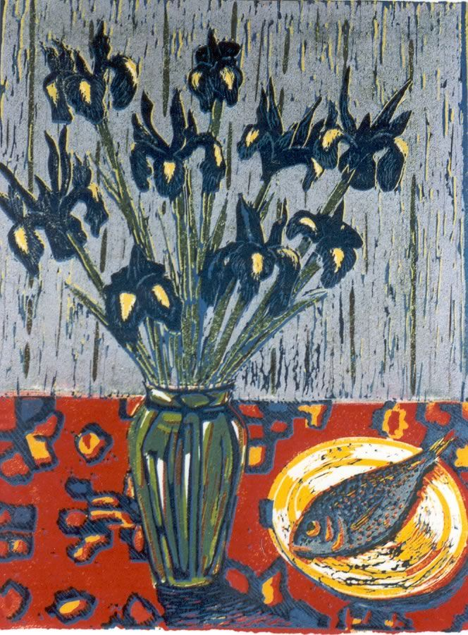 'Saturdays Fish and Tuesdays Iris' by Australian artist & printmaker Anita Laurence (b.1963). Reduction linocut. via the artist's site