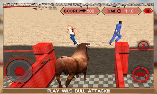 Enter in the bullring the matador champion is luring you with small red cape hiding bullfighting swords to knock you down. Play as crazy wild bull and trample the stadium in Angry Bull Attack Arena Sim 3D simulation game.  Welcome to Angry Bull Attack Arena Sim 3D simulator game where you play as crazy bull and attack torero matador for survival of your life. Public cheering the valor of the matador champion praising him for his deadly skills. Bullfighting is very popular sports...