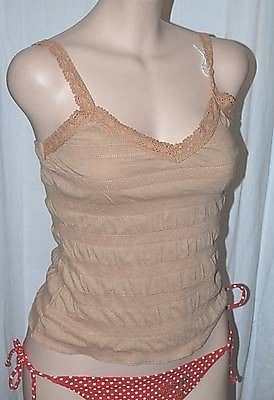 SEXY TAN CASUALTEXTURED PUCKERED CROCHET STRAPS CAMI FITTED TANK LOW CUT TOP #TOPAZ #TankCami #Casual