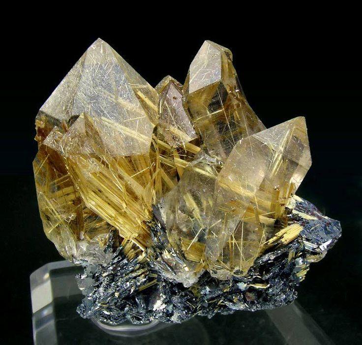 Golden Rutilated Quartz cluster from Brazil