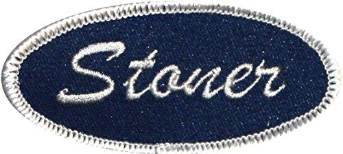 """[Single Count] Custom and Unique (3″ by 1 3/8″ Inches) Uniform Identification Badge """"Stoner"""" Name Tag Iron On Embroidered Applique Patch {Blue and White Colors}"""