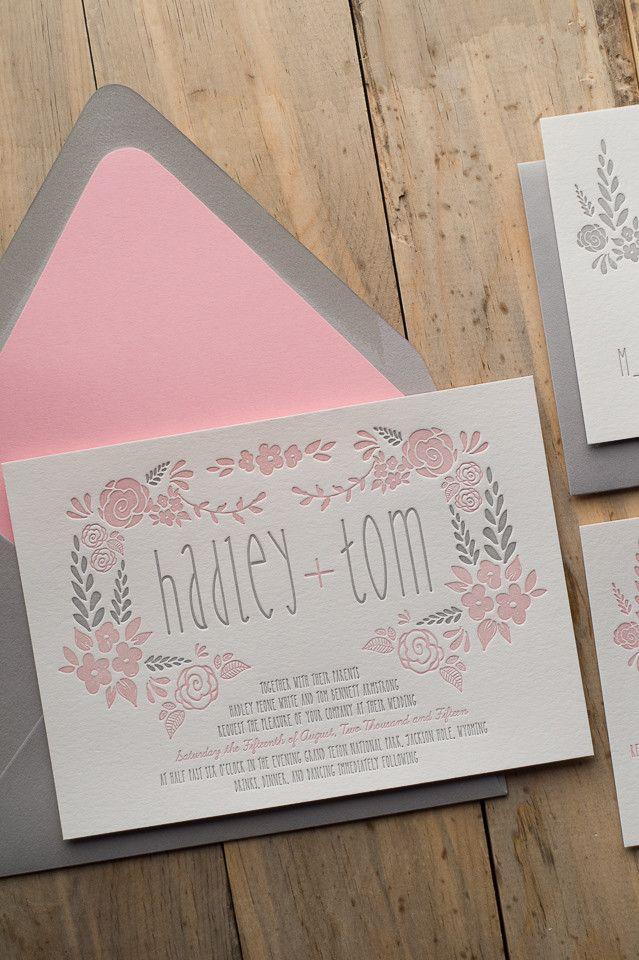 Beautiful Floral Letterpress Wedding Invitations, Digital Printed Wedding Invitations, Blush and Grey Wedding, Romantic Wedding Invitations, Floral Wedding Invitations, Exclusively designed by Rich Girl Collections for JUST INVITE ME