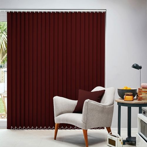 This burgundy blackout flame retardant Teflon coated material is available in 89mm & 127mm louvre widths