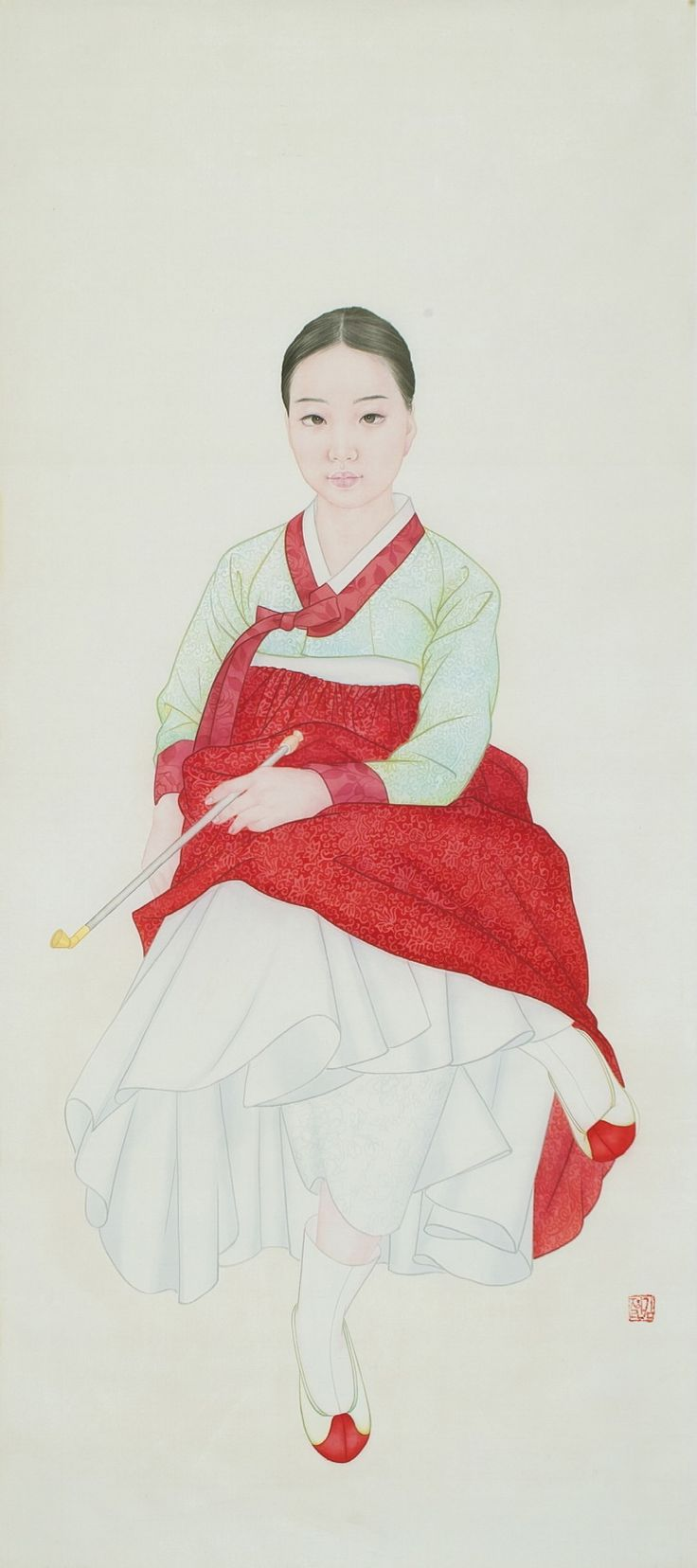 fHanbok illustration  | 한복 Hanbok : Korean traditional clothes[dress] rom 『21 century the portrait of a beauty』 by Kim jung ran
