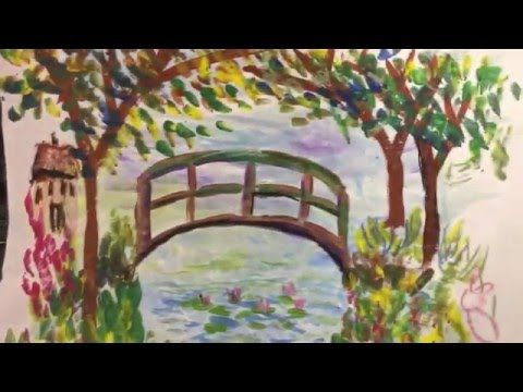 How to Draw Monet's Bridge with First Grade - YouTube