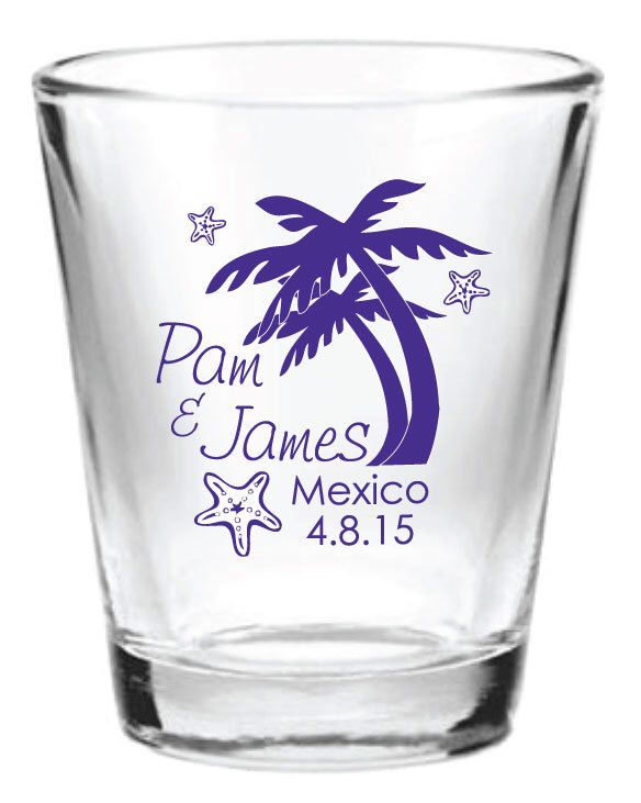 48 Personalized Destination Beach Wedding Favor 1.5oz Shot Glasses Custom Wedding Favors by Factory21 on Etsy https://www.etsy.com/listing/181029563/48-personalized-destination-beach